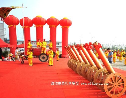 灯笼立柱、皇家礼炮、锣鼓队